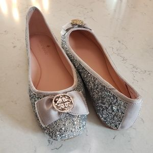 Kate Spade Silver Sequin Flats 7.5 bow girly